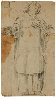 a study of a priest (+ sketch, verso) by alessandro tiarini