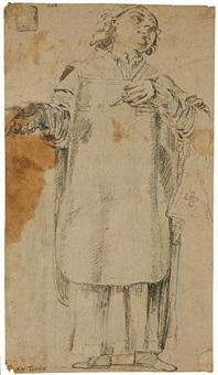 a study of a priest (+ sketch, verso) by alessandro tiarini