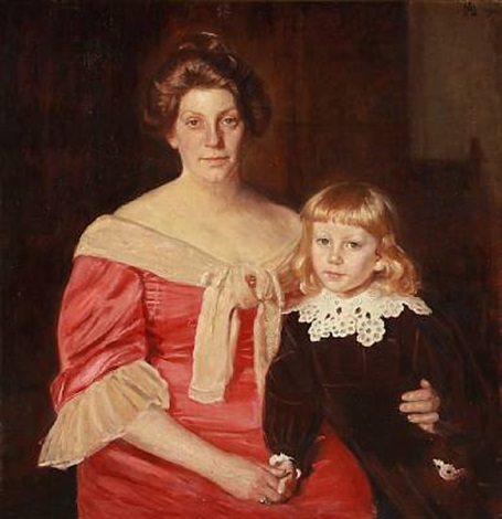 double portrait of henny brodersen and her son fin by michael peter ancher
