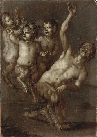 pan and his entourage en grisaille by flemish school 17