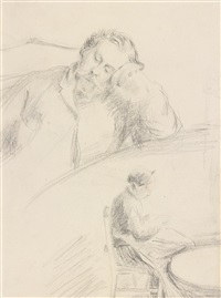 le peintre j.-f. bouchor et mme. alfred sisley and étude de chat (recto-verso) by alfred sisley