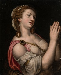 femme mondaine, les mains levées by michiel coxie the elder