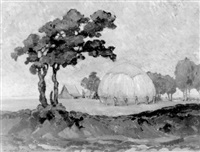 landschap met hooimijt by moyse arnaud
