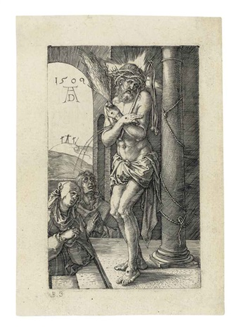 the man of sorrows standing by a column from the engraved passion by albrecht dürer
