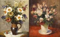 vases fleuris (2 works) by simon van gelderen