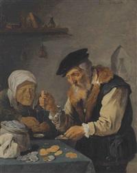an elderly couple weighing money by david teniers the younger