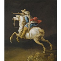 a cavalry officer charging by gerrit claesz bleker