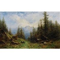 sommerliche berglandschaft mit bauernpaar by gustave eugène castan