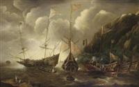 a mediterranean capriccio of a sea fight between european merchantmen and ottoman galeasses by andries van eertvelt