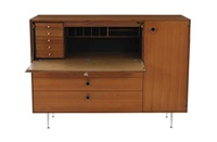 thin-edge cabinet with desk drawer by george nelson