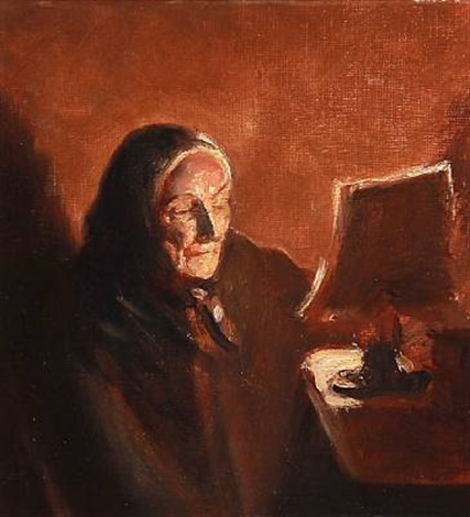 fru brøndum i lampelys the artists mother in law ane brøndum reading in the lamplight by michael peter ancher