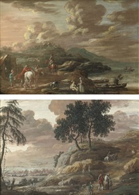 a coastal landscape with horsemen and other figures outside a stable (+ a hilly river landscape with travellers; pair) by henri-joseph van blarenberghe