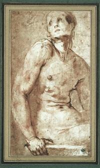 homme nu, vu de trois-quarts (study) by pontormo (jacopo carucci)