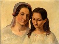 porträtstudie einer verheirateten frau mit mädchen, frühes 19. jahrhundert by friedrich von amerling