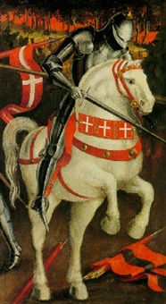 a knight in armor on a white horse by paolo uccello