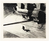 night shadows, from six american etchings (series i) by edward hopper