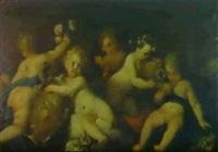 putti jouant avec des vases et des guirlandes de fleurs by stefano camogli