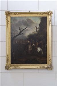 scènes de chasses à courre et chasse à l'épervier (pair) by french school (17)