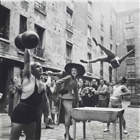 elise daniels with street performers, suit by balenciaga, le marais, paris, august by richard avedon