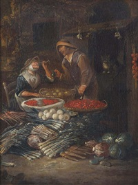 peasants selling fruits and vegetables before a stall by egbert van heemskerck the younger