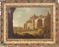 an italianate landscape with figures amongst ruins by charles cornelisz de hooch