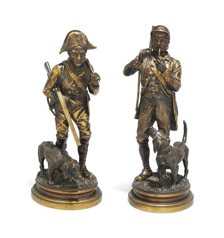 figures of huntsmen and hounds pair by alfred dubucand