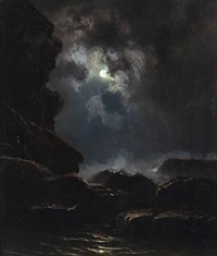 rocky coast at moonlight by knud andreassen baade