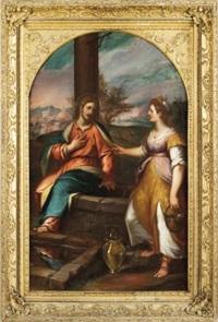 gesu e la samaritana al pozzo con la citta di firenze sullo sfondo by giovanni battista paggi
