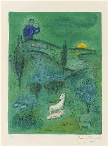 découverte de daphnis par lamon (from daphnis et chloé) by marc chagall