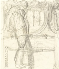 studies for the lady of shalott (3 works) by william holman hunt