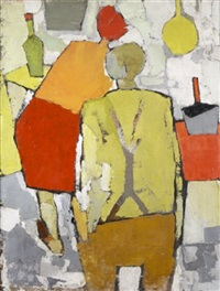 figures in a kitchen by michael kane