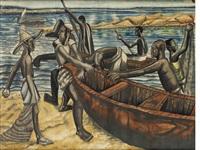 fishermen on the beach by ben enwonwu