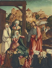 christ taking leave of his mother, with a donor family kneeling in the foreground by german school-augsburg (16)