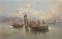 festliche gesellschaft in fischerbooten by f. boscari