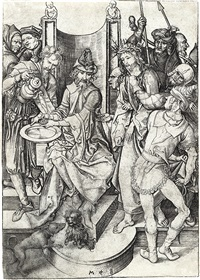 christ before pilate by martin schongauer