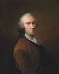 elegant man with full-bottomed wig, brown jacket and white stock by isak wacklin