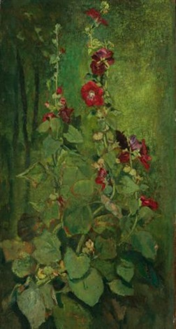 red hollyhocks by john la farge