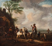 riders and horses by a farrier by philips wouwerman