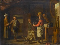 a cottage interior with figures making music, a boy dancing and a serving boy pouring wine by maximilian blommaerdt