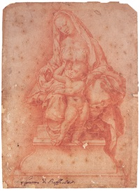 the madonna and child seated on a throne by girolamo genga