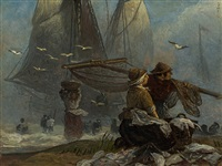 fisher couple on the beach by andreas achenbach