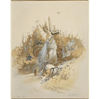 a tree gnome with a caged bird (+ 3 others, various sizes; 4 works) by herbert konig