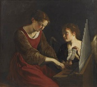 sainte cécile et l'ange by orazio gentileschi