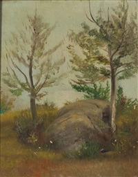 rock and trees by william sidney mount