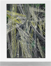 untitled (grey white and yellow lined over blue green face 809) by mark grotjahn
