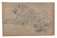 lion couché by théodore géricault