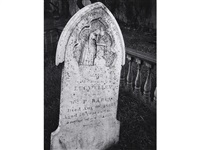 white gravestone, laurel hill cemetery, san francisco, california by ansel adams