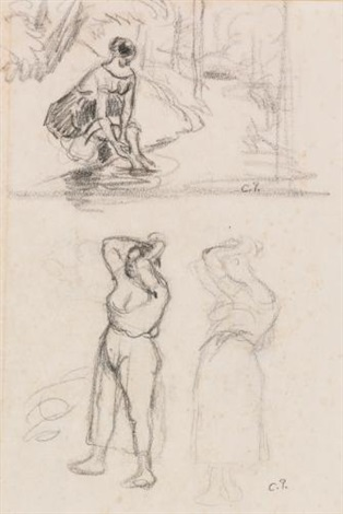 études a double sided drawing recto verso by camille pissarro