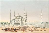 foule animée devant la mosquée ahmed (istanbul) by albrecht michael jacob jacobs