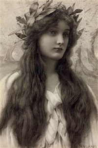 maiden with a laurel wreath by henry ryland